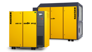 Fluid-injected rotary screw compressors with 1:1 direct drive